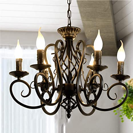 Ganeed Rustic French Country Chandelier, 6 Lights Farmhouse Candle .