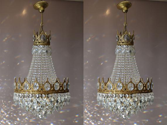 Etsy Chandelier sale Two Matching Antique/vintage | Et