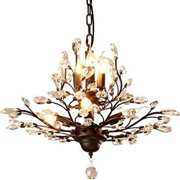 Ganeed Crystal Chandeliers, Vintage 7 Lights Pendant Light, K9 .