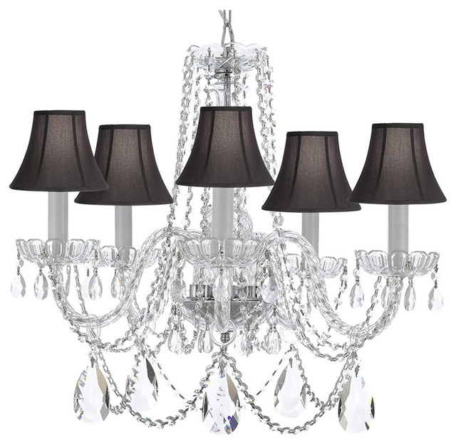 Crystal Chandelier With Black Shade - Traditional - Chandeliers .