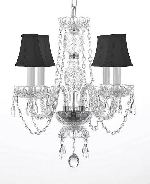 4-Light Venetian Style Empress Crystal Chandelier with Black Shad