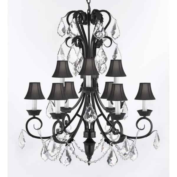 Unbranded Empress Iron and Crystal 9-Light Black Chandelier with .