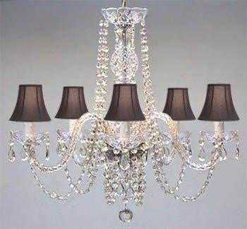 Authentic All Crystal Chandelier with Black Shades! - - Amazon.c