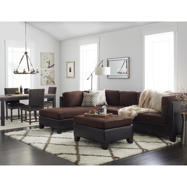 Shop Abbyson Charlotte Dark Brown Sectional Sofa and Ottoman .