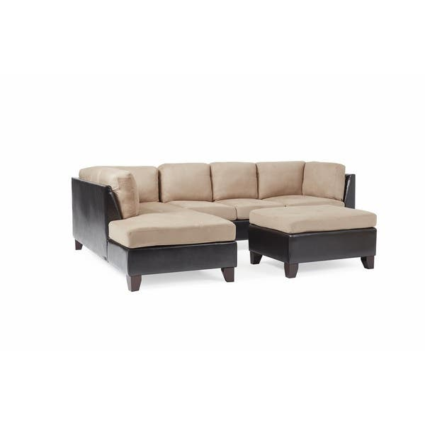 Shop Abbyson Charlotte Beige Sectional Sofa and Ottoman .