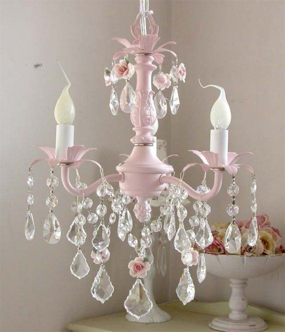 Pink chandelier - I can't wait to put this in my next baby room .