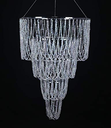 4 Tiers Large Wedding Chandelier, Faux Crystal Iridescent Beaded .