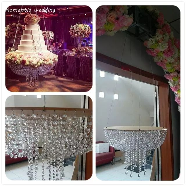 Romantic Wedding Faux Crystal Chandelier Style Drape Suspended .