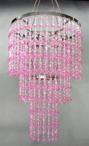 "15"" Pink Faux CRYSTAL Like 3-Tier Beaded CHANDELIER Home PARTY ."