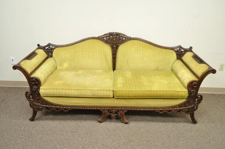 1930s Mahogany Chinese Chippendale Transitional Swan and Serpent .