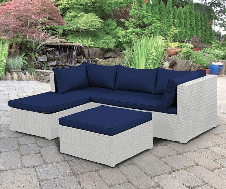 Wilson & Fisher Brook White All Weather Wicker Sectional & Ottoman .
