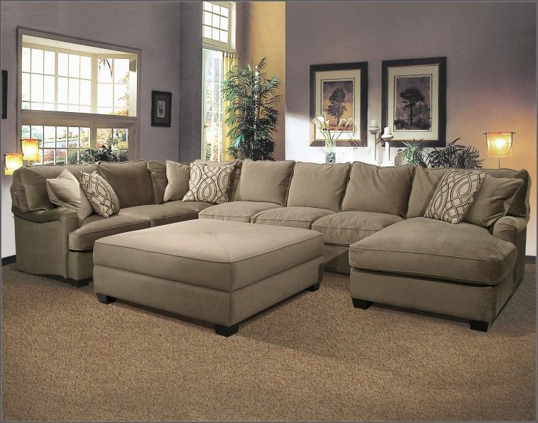 U Shaped Fabric Sectional Sofa With Large Ottoman On Super Elegant .