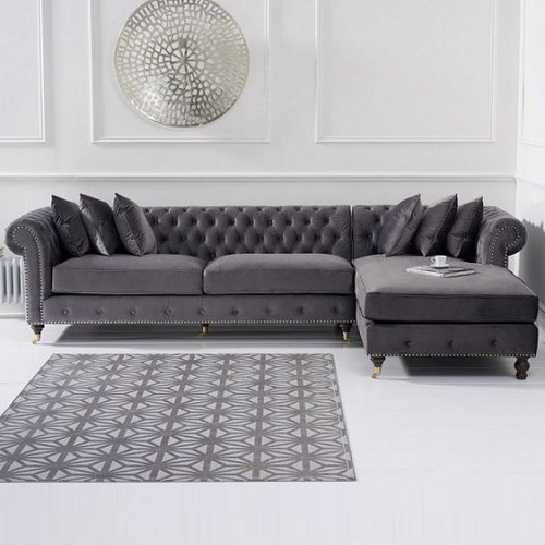 Royal L-Shape Chesterfield Sofa Set With Squad Fabric for Home, Rs .