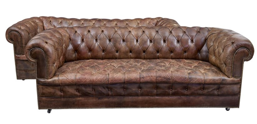 Vintage Leather Chesterfield Sofas, Set of 2 for sale at Pamo