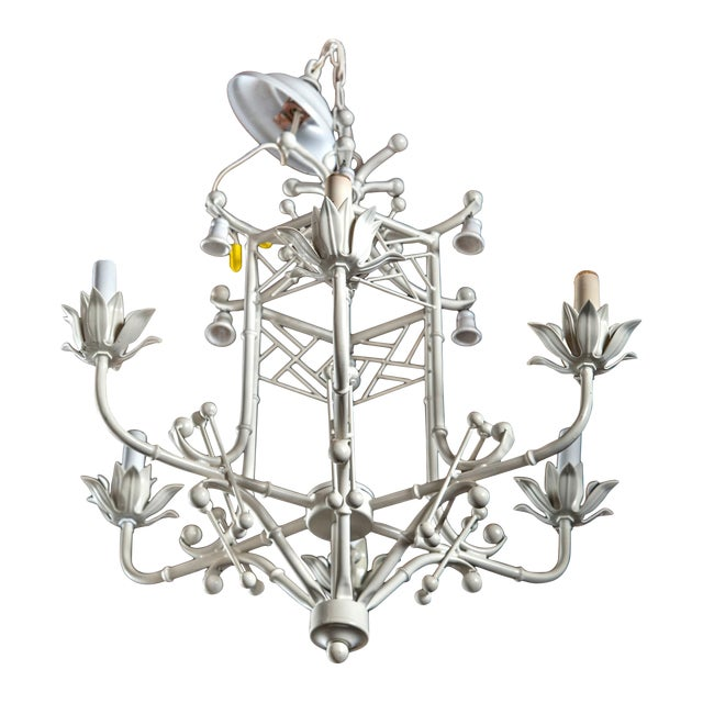 White Painted Wrought Iron Chinoiserie Chandelier With Bells .