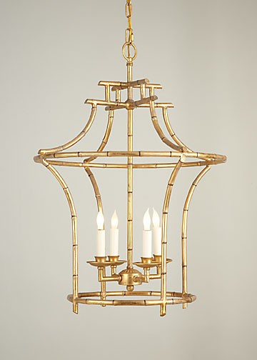 Antique Gold Faux Bamboo Chandeli