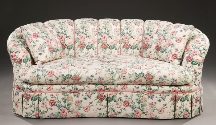 A MODERN FLORAL-CHINTZ UPHOLSTERED SOFA AND | #15267
