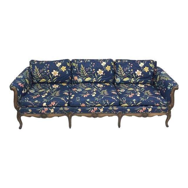 Blue Floral Chintz French Style Sofa | French style sofa, Blue .