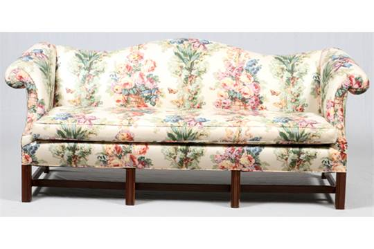 "CHINESE CHIPPENDALE STYLE MAHOGANY CAMEL BACK SOFA, L 80""Chintz ."