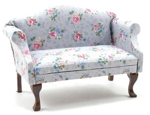 Sofa with Grey and Floral Chintz Fabric. – Dollhouse Juncti