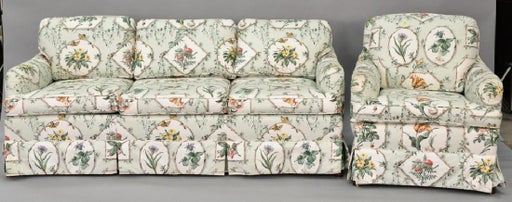 Chintz upholstered sofa with matching chair lg 81 in. - Dec 01 .