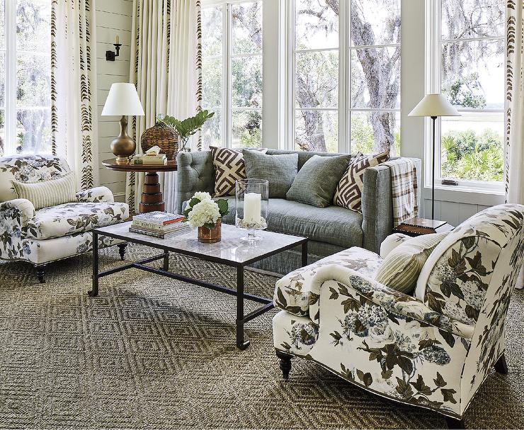 Charcoal Gray Shelter Back Sofa with Chintz Chairs - Cottage .