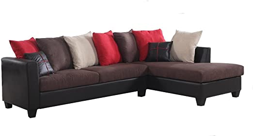 Amazon.com: Fabric and Faux Leather Sectional Sofa and Chaise .