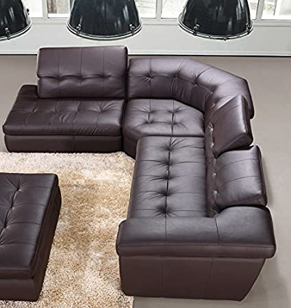 Amazon.com: Modern 397 Italian Leather Sectional Sofa in Chocolate .