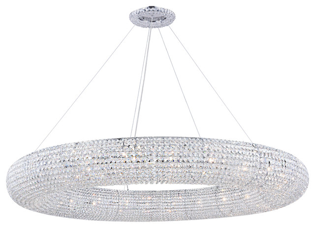 "Crystal Halo 24-Light 59"" Chrome Crystal Chandelier - Contemporary ."