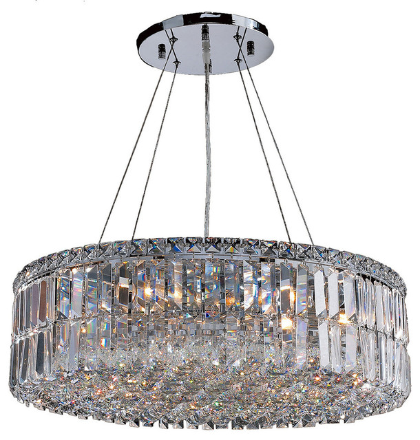 Contemporary 12-Light Chrome Finish with Clear Crystal Chandelier .