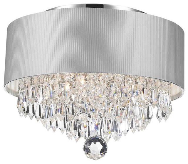 Modern 3-Light Chrome Crystal Chandelier Silver Acrylic Drum Shade .