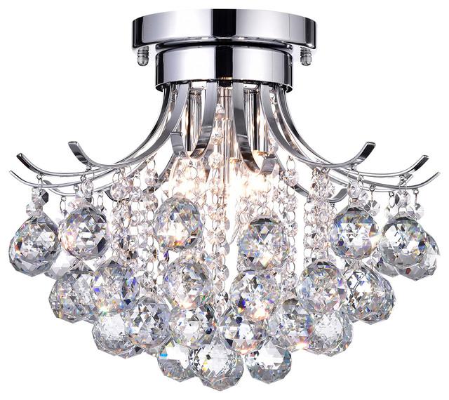 Clarus 3-Light Chrome Crystal Flush Mount Chandelier Ceiling Glam .