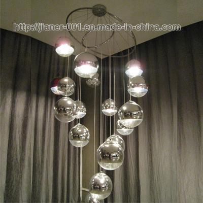 China Luxury Hotel Lobby, Stairs Glass Chandelier Pendant Lamp .