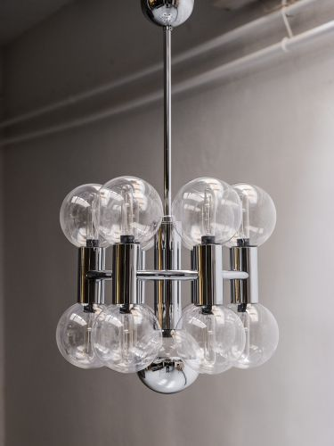 Beautiful chrome and clear glass chandelier- Designed by Motoko .