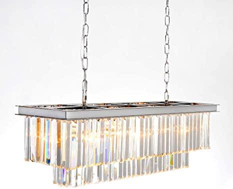 MEELIGHTING Luxury Chrome Rectangular Crystal Chandeliers Lighting .