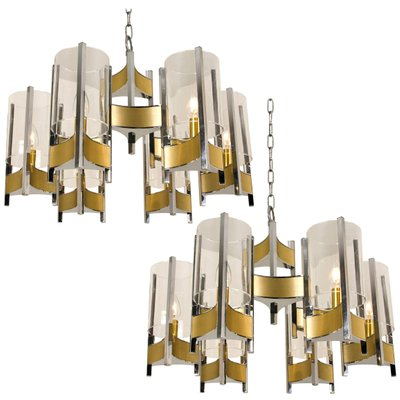 Chrome and Glass Chandeliers by Gaetano Sciolari, 1960s, Set of 2 .