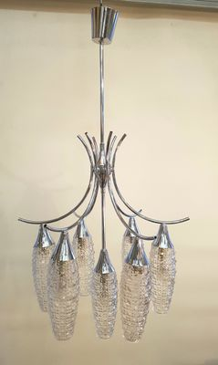 Vintage French Chrome and Glass Chandelier, 1970s for sale at Pamo