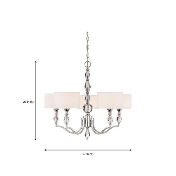Designers Fountain Evi 5-Light Chrome Chandelier with White Linen .