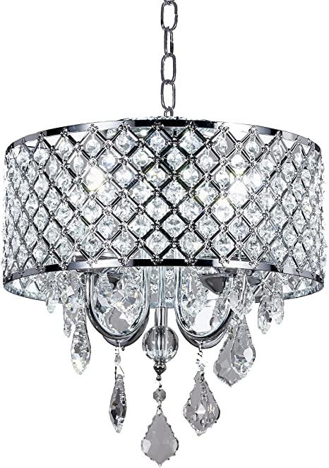 Diamond Life 4-Light Chrome Round Metal Shade Crystal Chandelier .