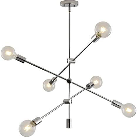 Sputnik Chandelier 6 Lights Modern Pendant Lighting Chrome Finish .
