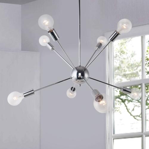 Chrome 8-Light Sputnik Chandelier for Modern Farmhouse Height .