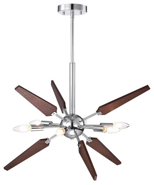 6-Light Chrome and Wood Sputnik Chandelier - Midcentury .