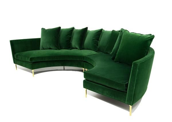 Sardinia Sectional in Emerald Velvet | Round sofa, Curved sofa .