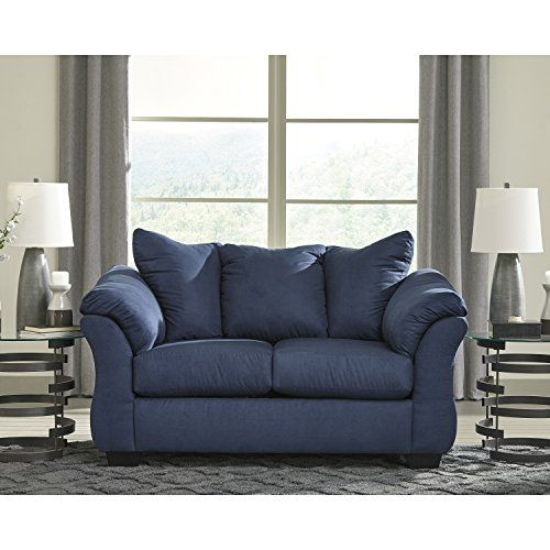 Flash Furniture Signature Design by Ashley Darcy Loveseat in Blue .