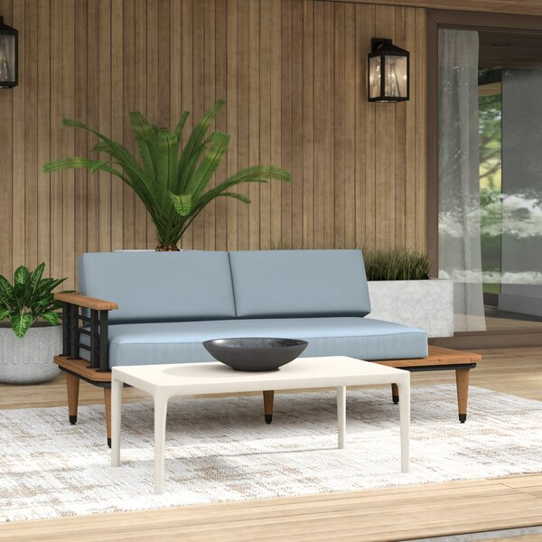 Mercury Row® Clary Teak Patio Daybed with Cushion & Reviews | Wayfa