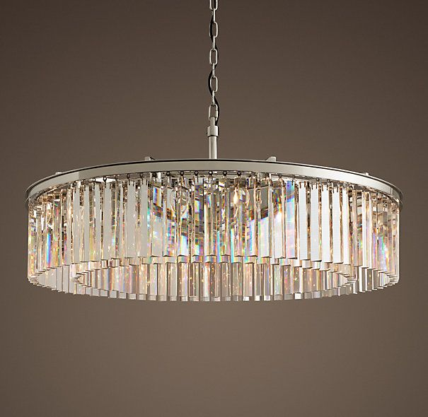 "Rhys Clear Glass Prism Round Chandelier 43"" - Polished Nickel ."