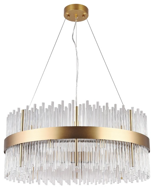 Gold Stainless Steel Frame, Clear Glass Chandelier - Contemporary .
