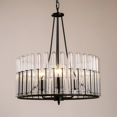 3 Lights Drum Shape Pendant Lighting Industrial Metal and Clear .