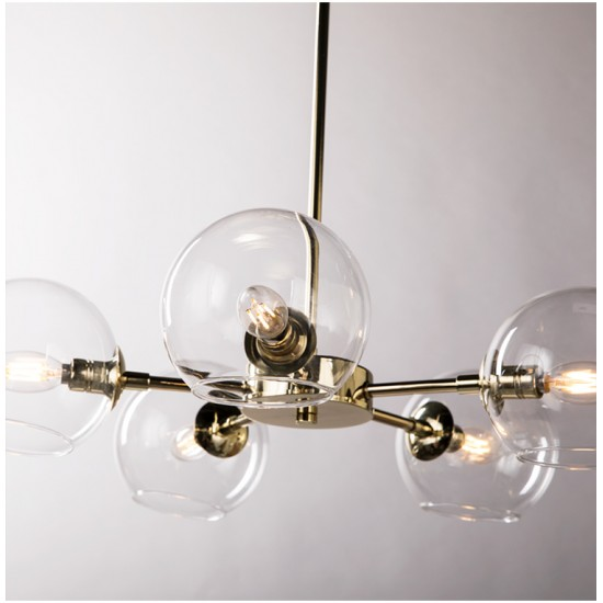 Glass Ball Chandelier 5 Heads Clear Glass Bubble La