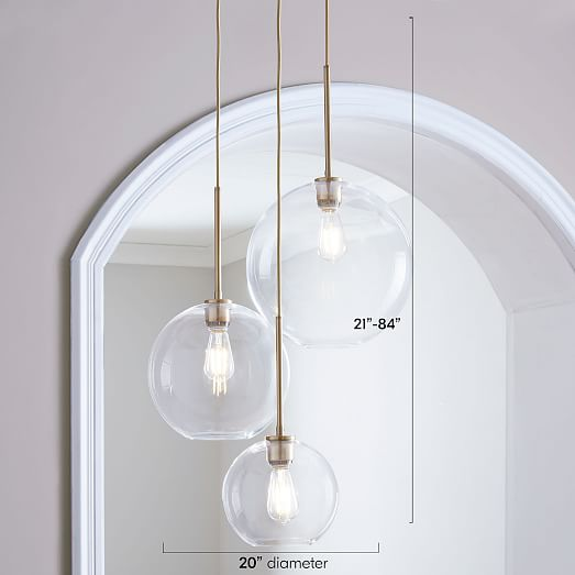 Sculptural Glass 3-Light Globe Chandelier - Cle